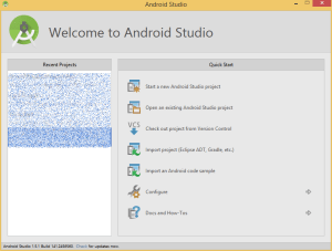 Startfenster des Android Studio's.