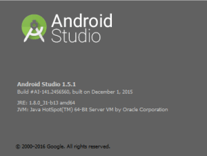 Verwendete Version des Android Studio's.