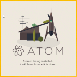 SplashScreen der Installationsroutine der Software Atom.