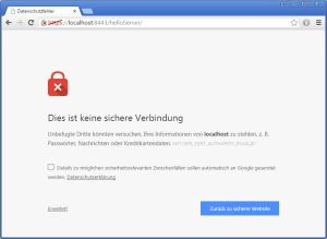 Chrome, öffnen einer Seite mit eigenem Zertifikat