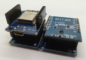 Wemos D1 mini mit SHT30 Shield auf Dual Base Shield