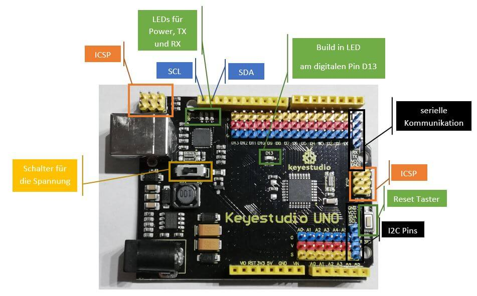 Features am Arduino UNO von Keyestudio