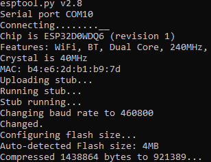 ESP32, flash mit esptool.py