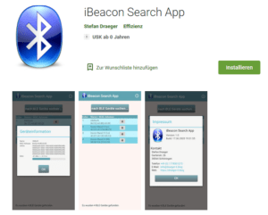 "Google PlayStore Eintrag der Android App - ""iBeacon Search App"""