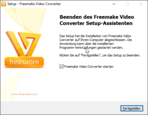 "Fertigstellen der Installation von ""Freemake DVD Ripper"""