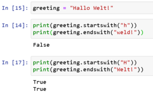Python3 - Strings, Funktionen startswith & endswidth